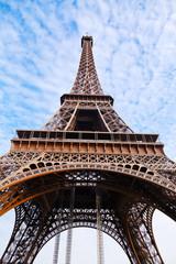 bottom view of Eiffel tower in Paris