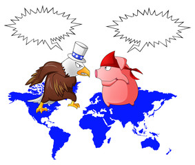 Giant eagle and red pig is fighting above the continent with bub
