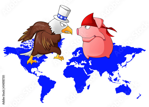 Giant eagle and red pig is fighting above the continent