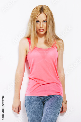 Beautiful blonde woman isolated on white.