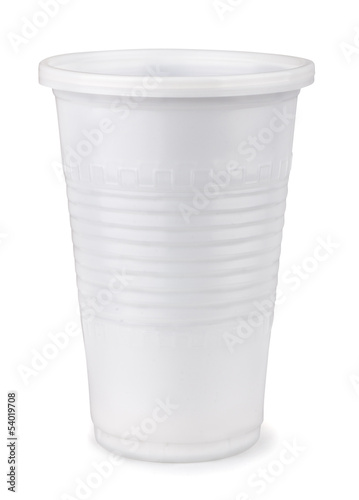 White disposable  plastic cup