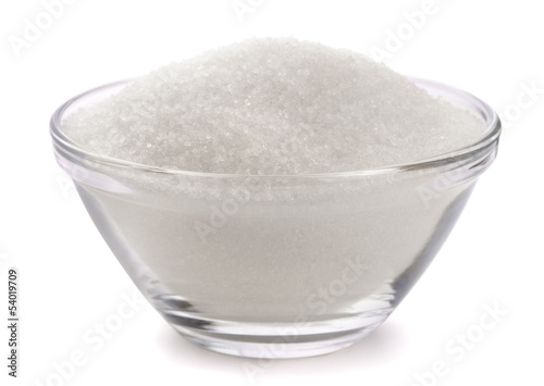 Sugar in glass bowl