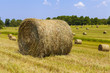 American countryside landscape with bundles of hay