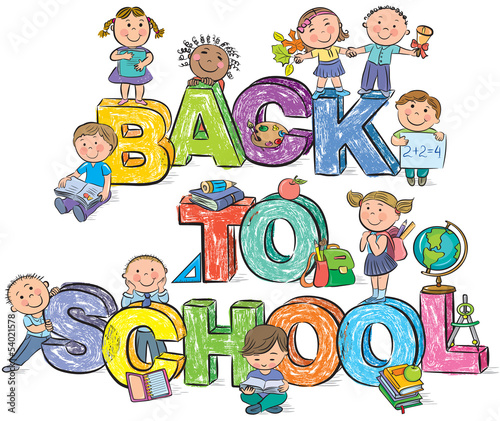 Back to school funny letters and kids
