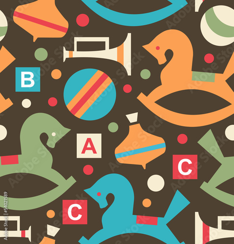 Decorative seamless pattern with toys  Childhood