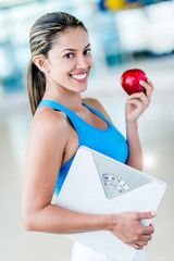 Fit woman eating healthy