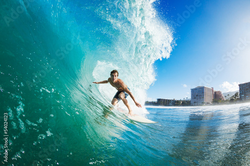 Surfer Getting Barreled