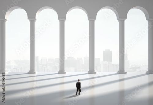 man in classic hall