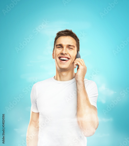 men standing with phone