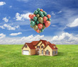 house with baloons