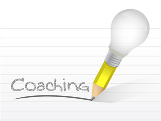 Coaching handwritten with lightbulb pencil