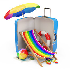 Suitcase with Different Accessories for Vacation