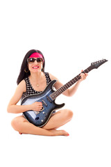 Woman With Electric Guitar Isolated On White