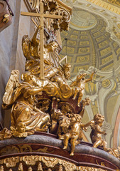 Vienna - Sculpture of Holy Trinity in baroque st. Peter church
