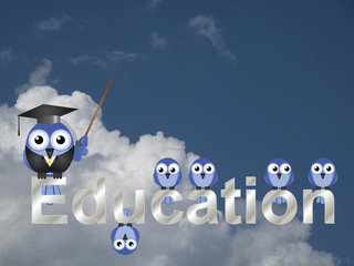Education text and teacher bird and pupils