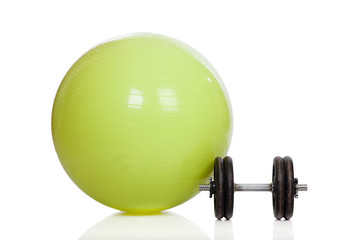 Big green training ball and dumbbell