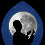 Card design of muslim pray on blue moon