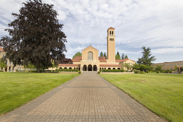 Brick Path to Historic Mt Angel Abbey Church Entrance