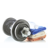 Fototapety Dumbbell with water and towel