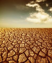 desert - cracked dried soil and sky