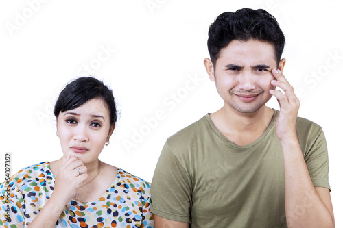 Sad couple expression - isolated