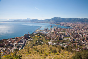 Palermo - outlook over city, coast and harbor
