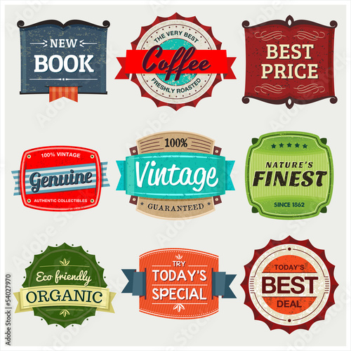 Vintage Labels to showcase and promote your products.