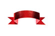 Shiny red ribbon set on white background with copy space.