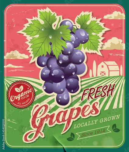 Retro Fresh Grapes Poster Design