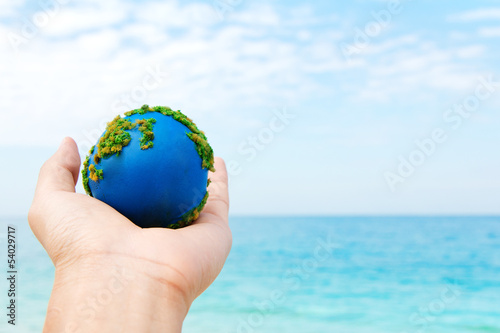 Hands and Earth  Concept Save green planet