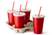 Four red takeout cups with a cup holder