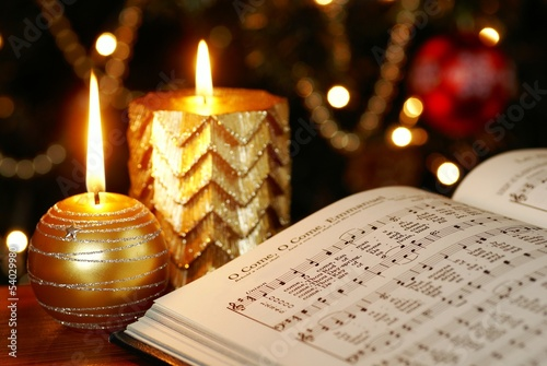 Detail of songbook with Christmas carols - 54029980
