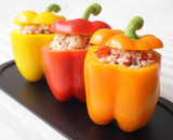 A colorful trio of stuffed bell peppers