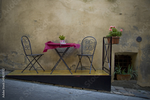 Table for two in Montepulciano, Tuscany, Italy