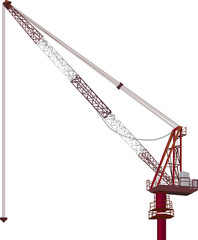 single red building crane on white