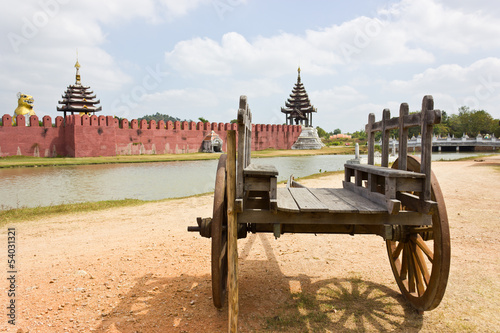 Ancient wooden wagon in the old palace.