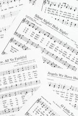 Sheets of Christmas carols.