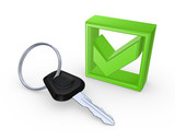 Key from car and green tick mark.