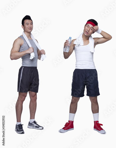 athletic man and workout beginner