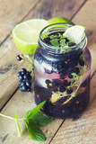 Refreshing blackberry lemonade with mint