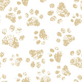 Cat or dog brown paw prints on white seamless pattern, vector