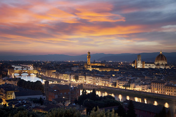 Florence cityscape at night