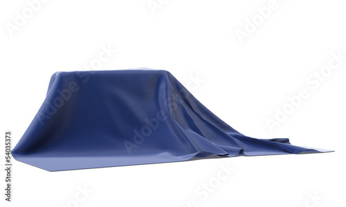 mysterious box covered with blue cloth