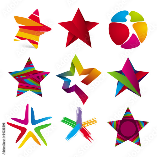 vector collection of colorful stars signs
