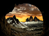 Tre cime di Lavaredo with Paternkofel  at sunset,  Italy