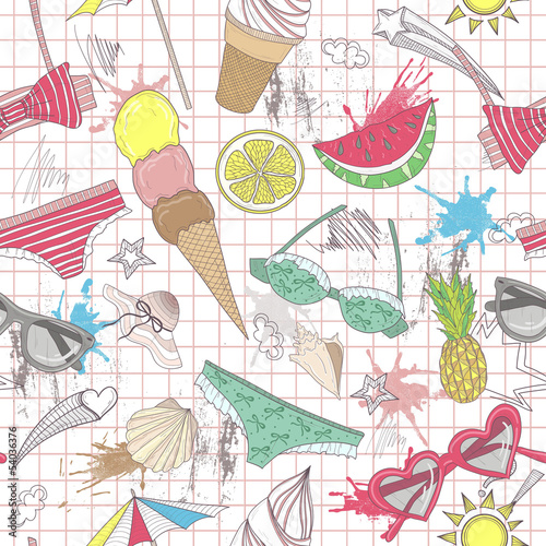 Cute summer abstract pattern. Seamless pattern with swimsuits, s