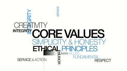 Core values ethical principles word tag cloud animation