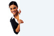 Female model holding blank white ad board