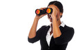 Corporate woman viewing through binoculars
