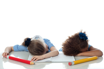 Young kids sleeping in classroom